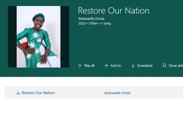 RESTORE OUR NATION - Boluwatife Oriol